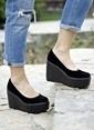İnce Topuk Dolgu Topuk Ayakkabı Siyah